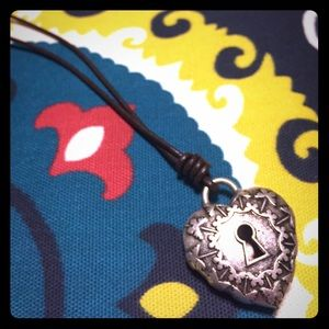 Fossil Reversible Key Lock Heart Necklace